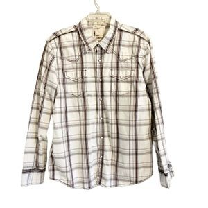 BKE Brown & White Plaid Pearl Snap Slim Fit  Shirt